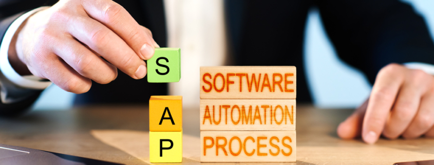 Software automation process spelled out on wooden blocks